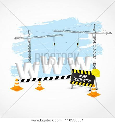 Under construction page. Vector illustration.