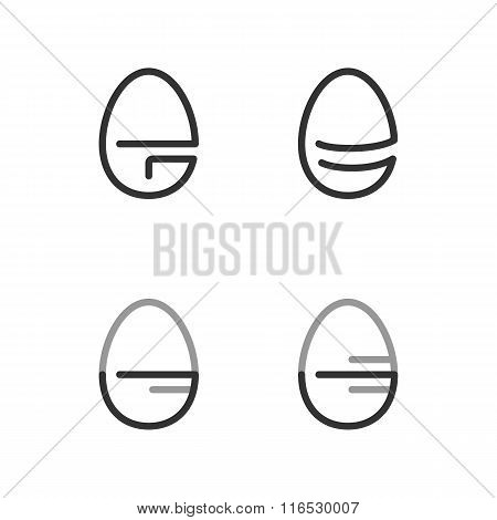 Egg Shape Line Logo. Minimalism Style Logotype. Vector