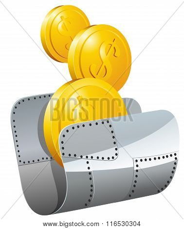 Guarded steel folder with money