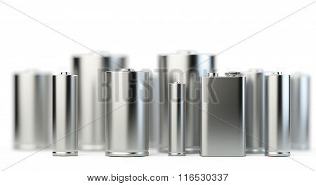 Several Batteries In Perspective View With Depth Of Field