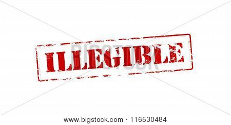 Rubber stamp with word illegible inside vector illustration