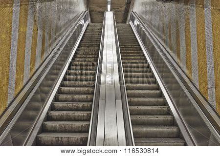 Dirty And Grungy Escalator From Brussels Subway
