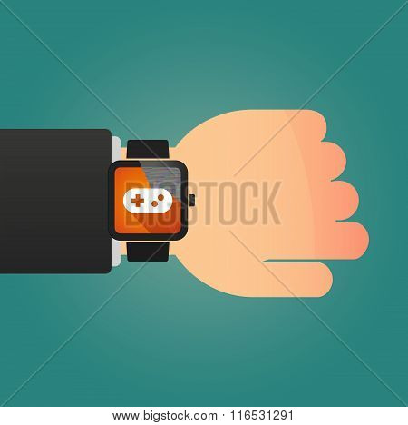 Isolated Smart Watch Icon With A Floppy Disk