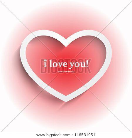 isolated white heart symbol valentine's day background illustration