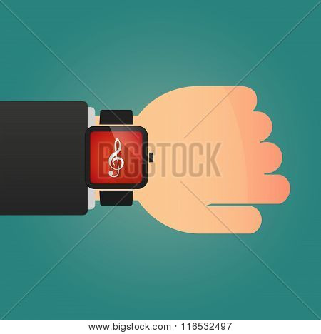Isolated Smart Watch Icon With A G Clef