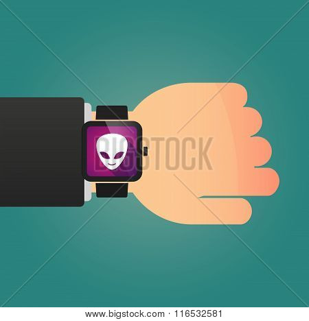 Isolated Smart Watch Icon With An Alien Face
