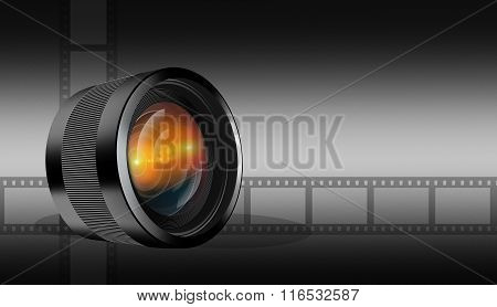 Photographic Lens On Dark  Background