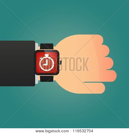 Isolated Smart Watch Icon With A Timer