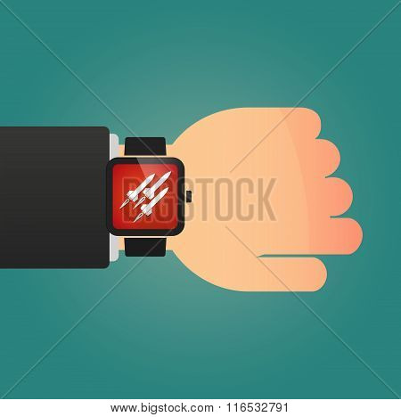 Isolated Smart Watch Icon With Missiles