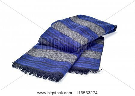 a warm gray and blue scarf on a white background