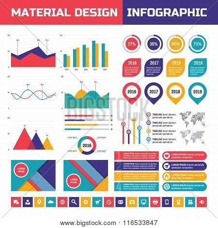 Business infographic vector set in material design style. Business infographics elements.