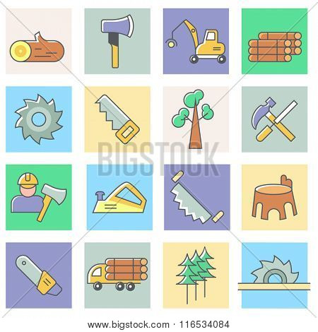 Woodworking icons, thin line flat design