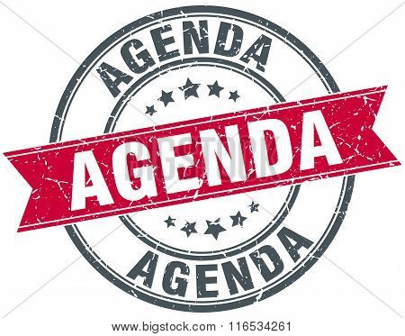 Agenda Red Round Grunge Vintage Ribbon Stamp