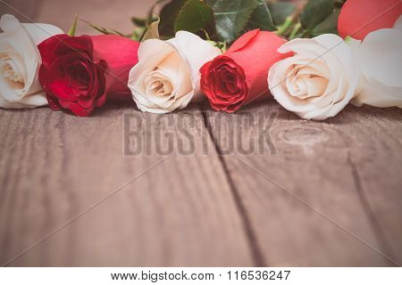 Red And White Roses On Wooden Background. Women' S Day, Valentines Day, Mothers Day.
