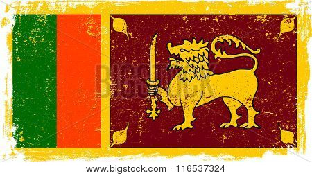 Sri Lanka vector grunge flag isolated on white background.