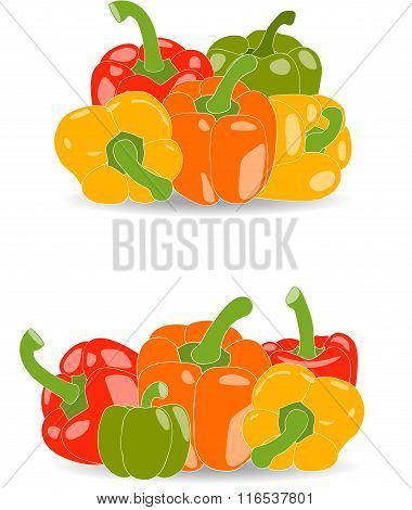 Peppers, set of yellow, red, green and orange peppers and parsley leaves, vector illustration on a t
