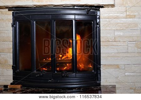 Fire in the fireplace.