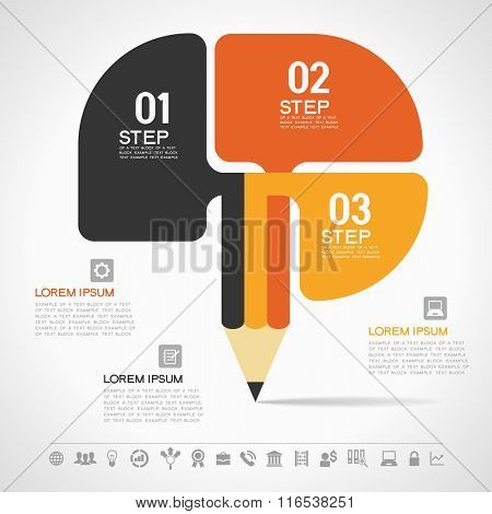 Creative Template with pencil for infographics. File is EPS version. This illustration contains a transparency