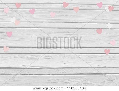 Valentines Day Or Wedding Mockup Scene With Paper Hearts Confetti And Old White Wooden Background