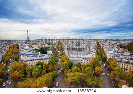 View of Eiffel tower and Paris form Triumph Arc