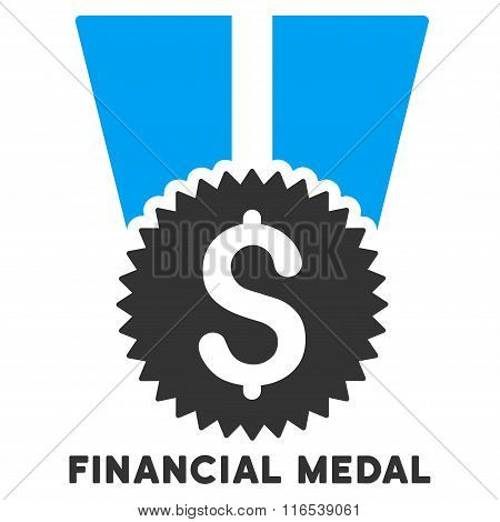 Financial Medal Vector Icon With Caption
