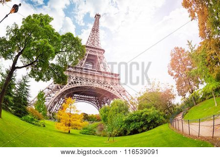 View of Eifel tower from bellow in Paris