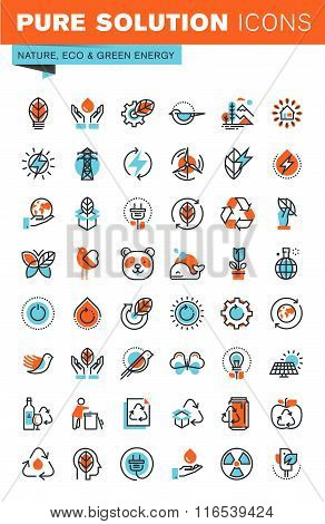 Thin line web icons for environment, recycling, renewable energy, green technology