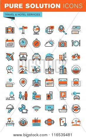 Thin line web icons for travel and tourism, hotel facilities, online booking