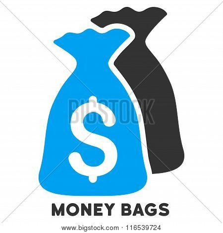 Money Bags Vector Icon With Caption
