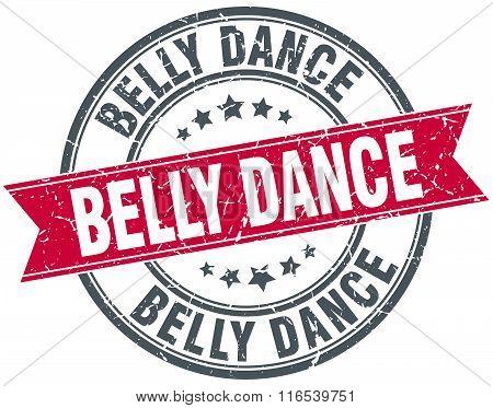 Belly Dance Red Round Grunge Vintage Ribbon Stamp