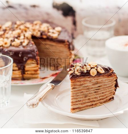 A Slice Of Chocolate, Hazelnut And Cottage Cheese Crepe Cake