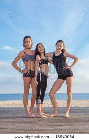 group of healthy fit  teens girls
