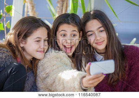 group happy  girls taking selfie photo