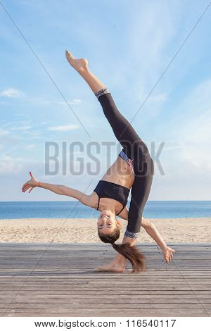 acrobatic skill, young gymnast practice