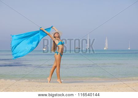 beach woman slim fit tanned and healthy