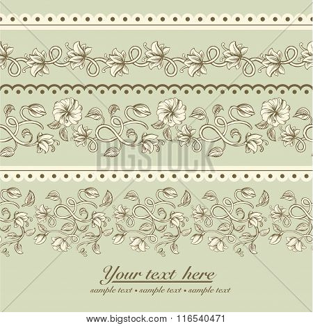 Beautiful vintage seamless ornaments patterns with a different stylized weave flowers