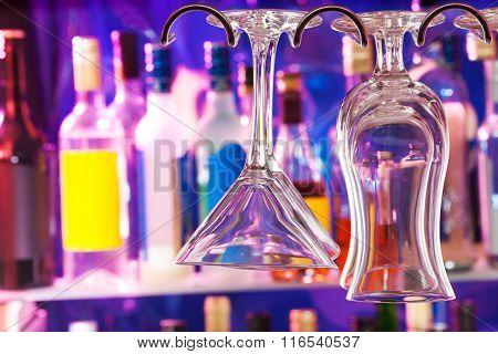 Glean glasses on hanger in the bar