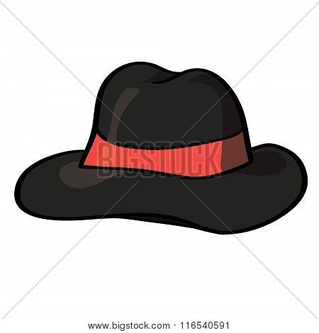 Vector fedora hat isolated on white