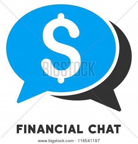 Financial Chat Glyph Flat Icon With Caption