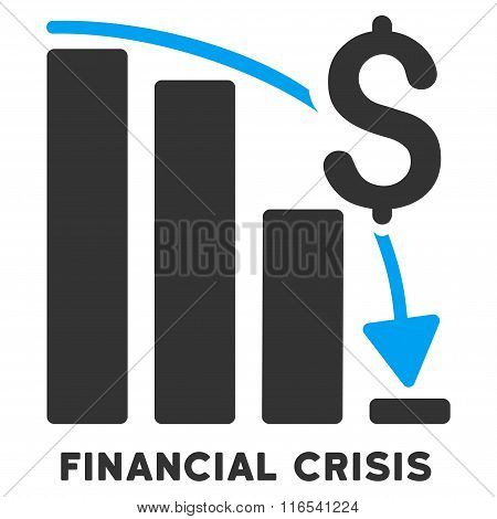 Financial Crisis Glyph Icon With Caption