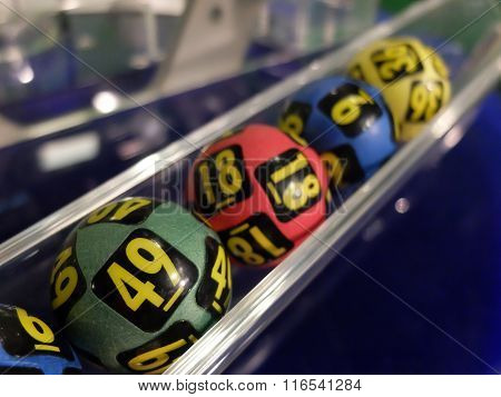 Lottery balls during extraction of the winning numbers