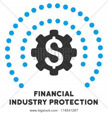 Financial Industry Protection Glyph Flat Icon With Caption