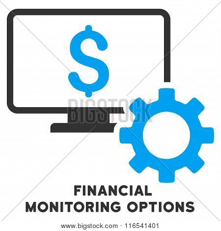 Financial Monitoring Options Glyph Flat Icon With Caption