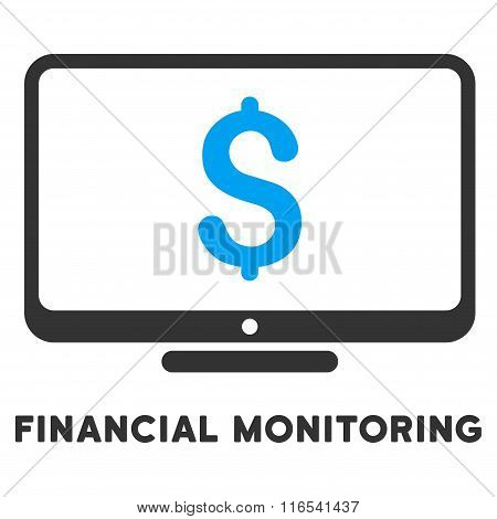 Financial Monitoring Glyph Icon With Caption