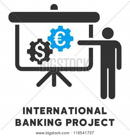 International Banking Project Glyph Icon With Caption