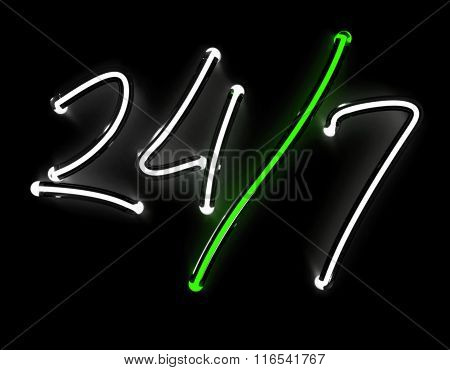 24/7 neon sign isolated on black background