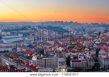 Skyline Of Lisbon At Sunset