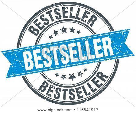 Bestseller Blue Round Grunge Vintage Ribbon Stamp