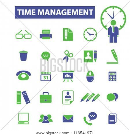 time management, freelance icons, signs vector concept set for infographics, mobile, website, application