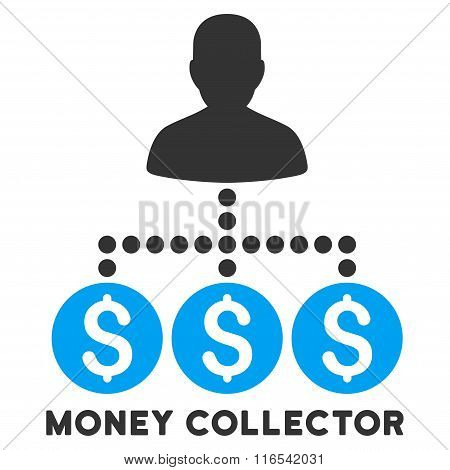 Money Collector Glyph Icon With Caption